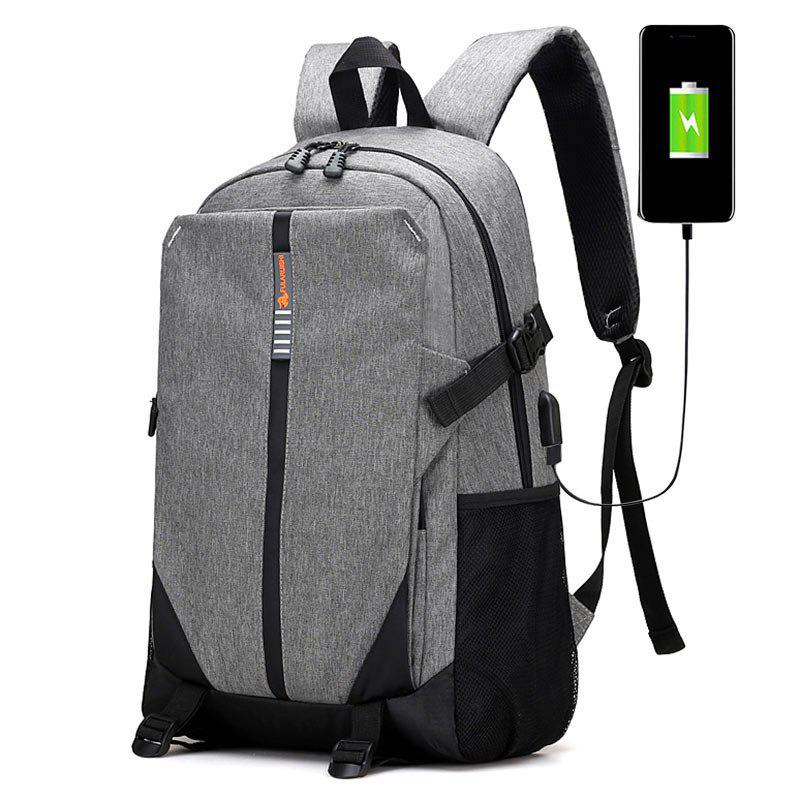 USB Charging Port Striped BackpackSHOES &amp; BAGS<br><br>Color: GRAY; Backpack Usage: Daily Backpack; Backpacks Type: Softback; Pattern Type: Striped; Main Material: Polyester; Gender: For Men; Weight: 1.2000kg; Package Contents: 1 x Backpack;