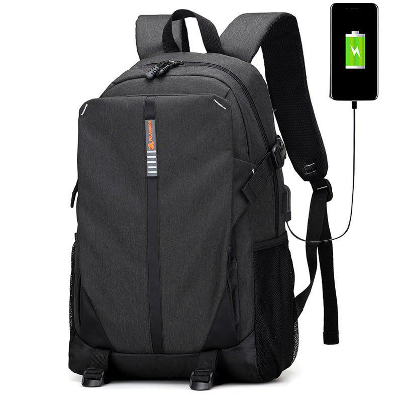 USB Charging Port Striped BackpackSHOES &amp; BAGS<br><br>Color: BLACK; Backpack Usage: Daily Backpack; Backpacks Type: Softback; Pattern Type: Striped; Main Material: Polyester; Gender: For Men; Weight: 1.2000kg; Package Contents: 1 x Backpack;