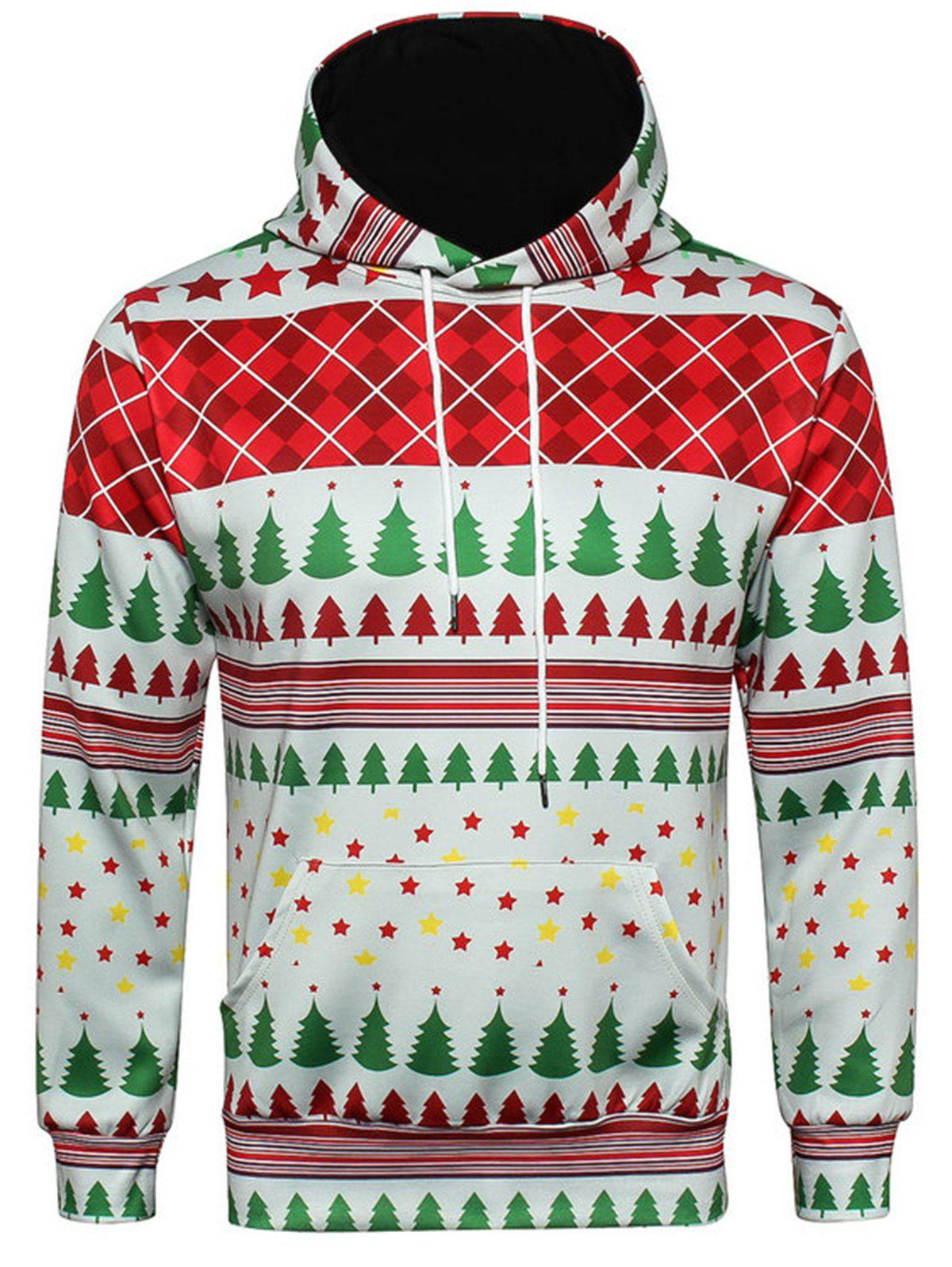 Christmas Tartan Star Print Pullover HoodieMEN<br><br>Size: XL; Color: COLORMIX; Material: Cotton,Polyester; Clothes Type: Hoodie; Shirt Length: Regular; Sleeve Length: Full; Style: Fashion; Patterns: Geometric,Plaid,Print,Stars; Thickness: Regular; Occasion: Casual ,Daily Use,Going Out; Weight: 0.5900kg; Package Contents: 1 x Hoodie;