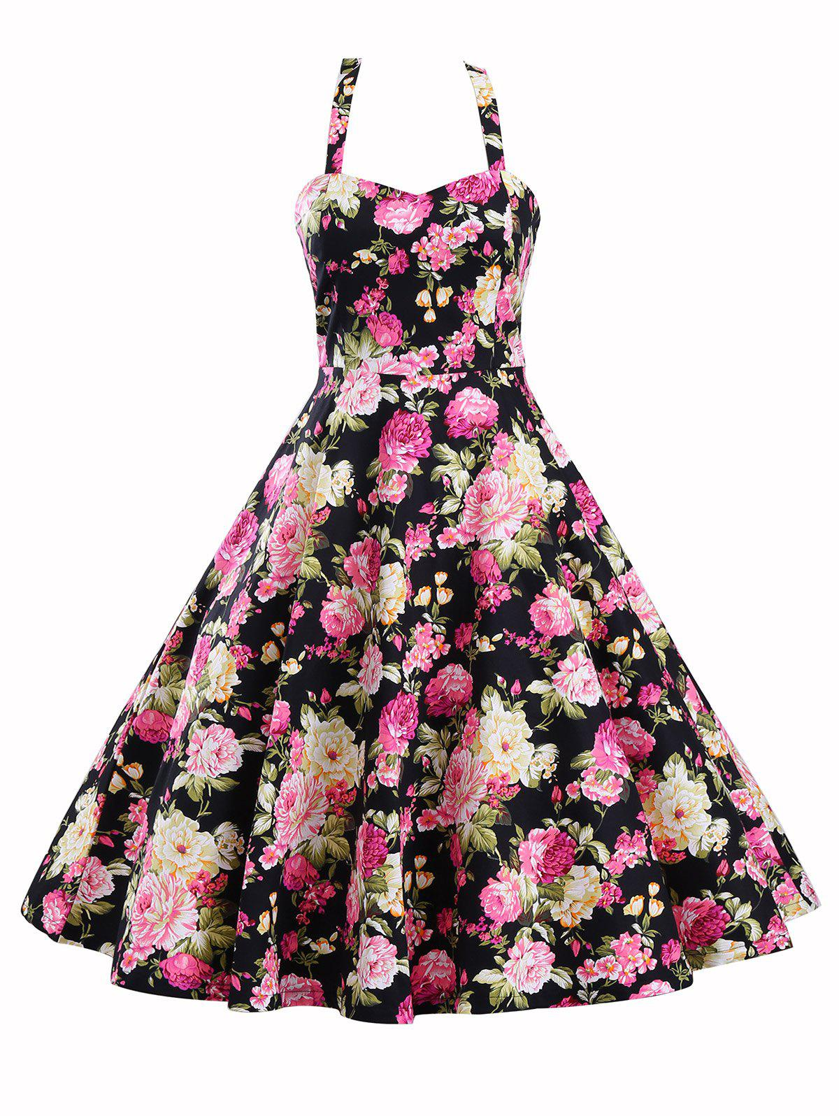 Floral Print High Waist Halter Vintage Flowy DressWOMEN<br><br>Size: XL; Color: COLORMIX; Style: Vintage; Material: Polyester; Silhouette: A-Line; Dress Type: Fit and Flare Dress; Dresses Length: Knee-Length; Neckline: Halter; Sleeve Length: Sleeveless; Pattern Type: Floral,Print; With Belt: No; Season: Fall,Spring,Summer,Winter; Weight: 0.4400kg; Package Contents: 1 x Dress;