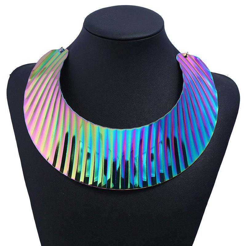 Alloy Moon Chunky Statement NecklaceJEWELRY<br><br>Color: COLORFUL; Gender: For Women; Metal Type: Alloy; Style: Trendy; Shape/Pattern: Moon; Length: 29CM+10.5CM (Extra Chain); Weight: 0.1190kg; Package Contents: 1 x Necklace;