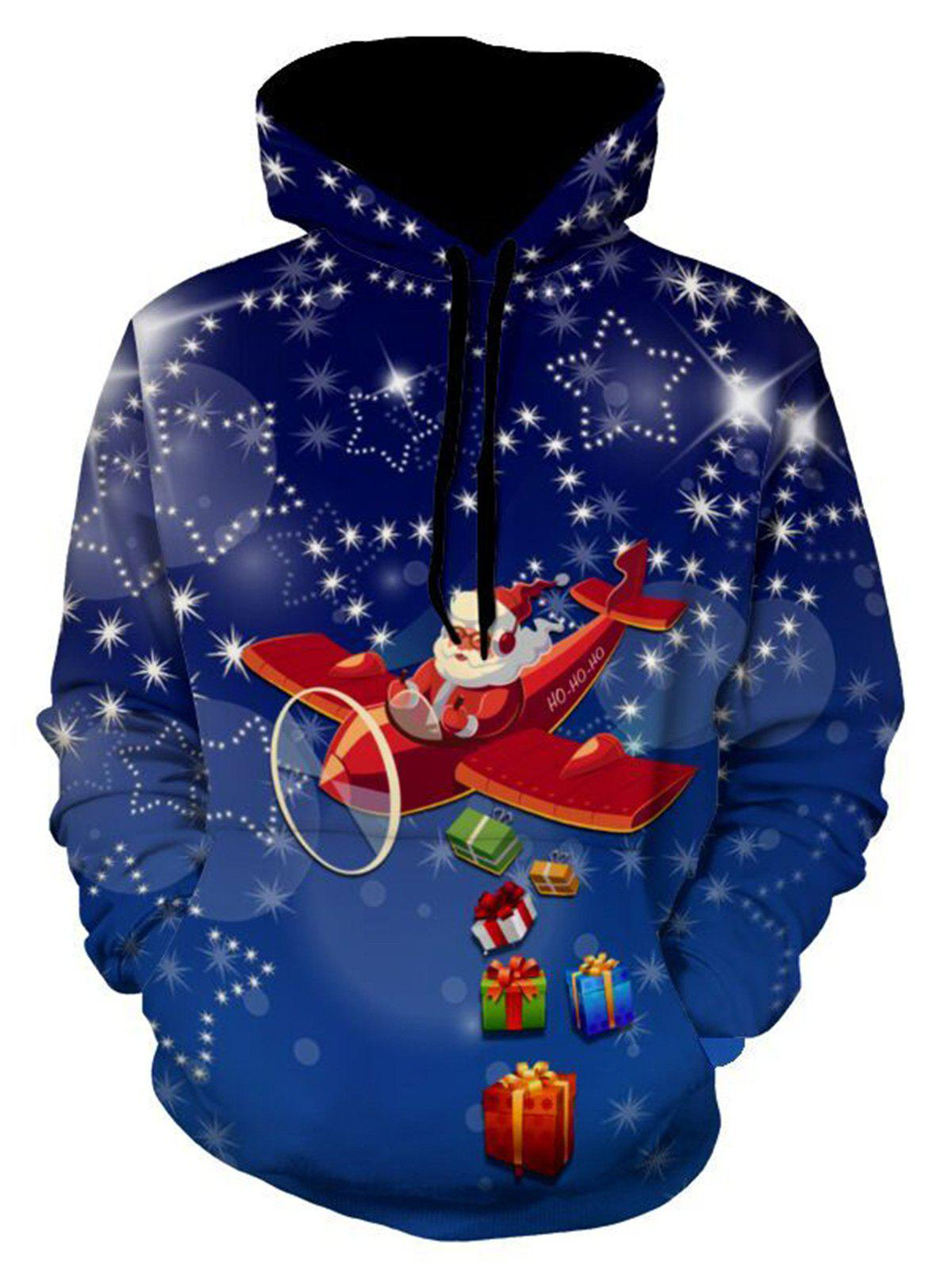 Santa Clause Christmas Gifts Printed HoodieMEN<br><br>Size: 3XL; Color: BLUE; Material: Polyester,Spandex; Clothes Type: Hoodie; Shirt Length: Regular; Sleeve Length: Full; Style: Fashion; Patterns: Cartoon,Print,Stars; Thickness: Regular; Occasion: Casual ,Daily Use,Going Out; Weight: 0.5400kg; Package Contents: 1 x Hoodie;