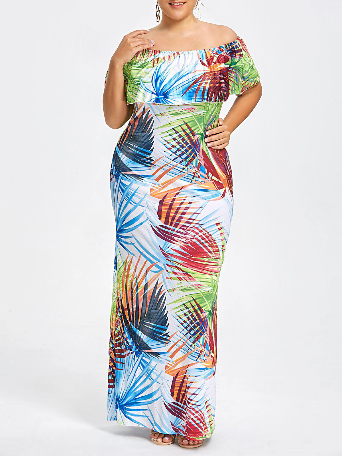 Plus Size Palm Print Off The Shoulder DressWOMEN<br><br>Size: 5XL; Color: COLORMIX; Style: Casual; Material: Cotton,Polyester; Silhouette: Sheath; Dresses Length: Floor-Length; Neckline: Off The Shoulder; Sleeve Length: Short Sleeves; Pattern Type: Print; With Belt: No; Season: Fall,Spring,Summer; Weight: 0.3800kg; Package Contents: 1 x Dress;