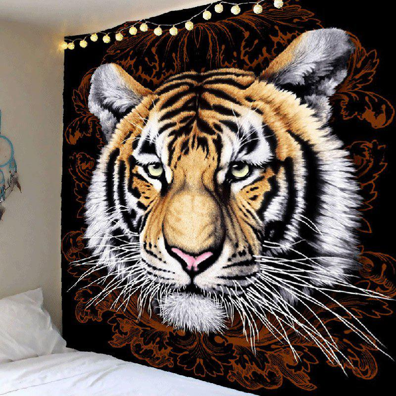 Tiger Pattern Waterproof Wall Art TapestryHOME<br><br>Size: W79 INCH * L79 INCH; Color: BROWN AND WHITE; Style: Natural; Theme: Animals; Material: Polyester; Feature: Removable,Waterproof; Shape/Pattern: Animal; Weight: 0.4100kg; Package Contents: 1 x Tapestry;