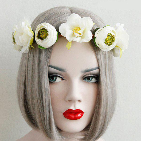 Flower Elastic Wreath HairbandACCESSORIES<br><br>Color: WHITE; Headwear Type: Hairbands; Group: Adult; Gender: For Women; Style: Fashion; Shape/Pattern: Floral; Weight: 0.0600kg; Package Contents: 1 x Hairband;
