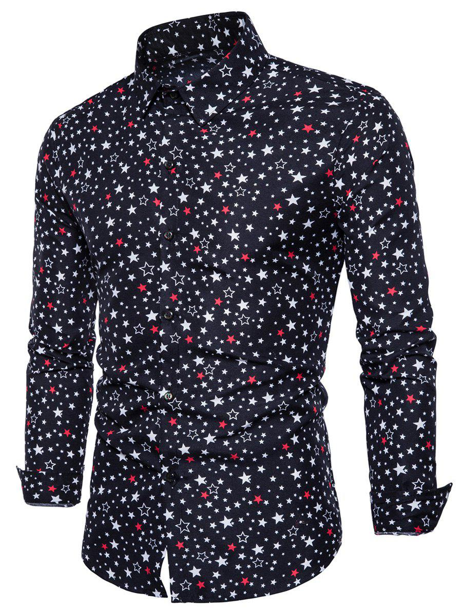Long Sleeve Colorful Stars Print ShirtMEN<br><br>Size: M; Color: BLACK; Shirts Type: Casual Shirts; Material: Cotton,Polyester; Sleeve Length: Full; Collar: Turndown Collar; Pattern Type: Star; Weight: 0.2500kg; Package Contents: 1 x Shirt;