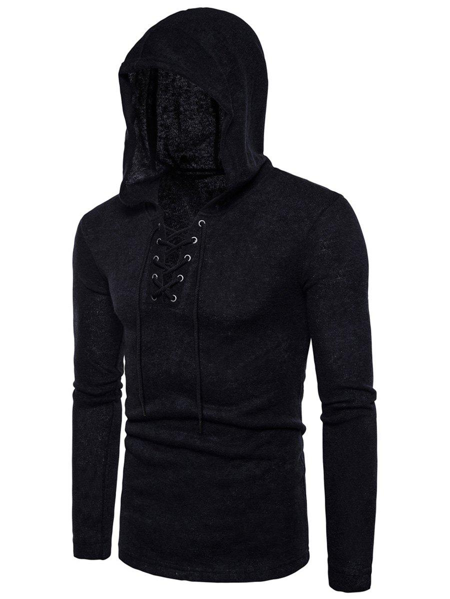 Outfits Hooded Lace Up Knitted Sweater