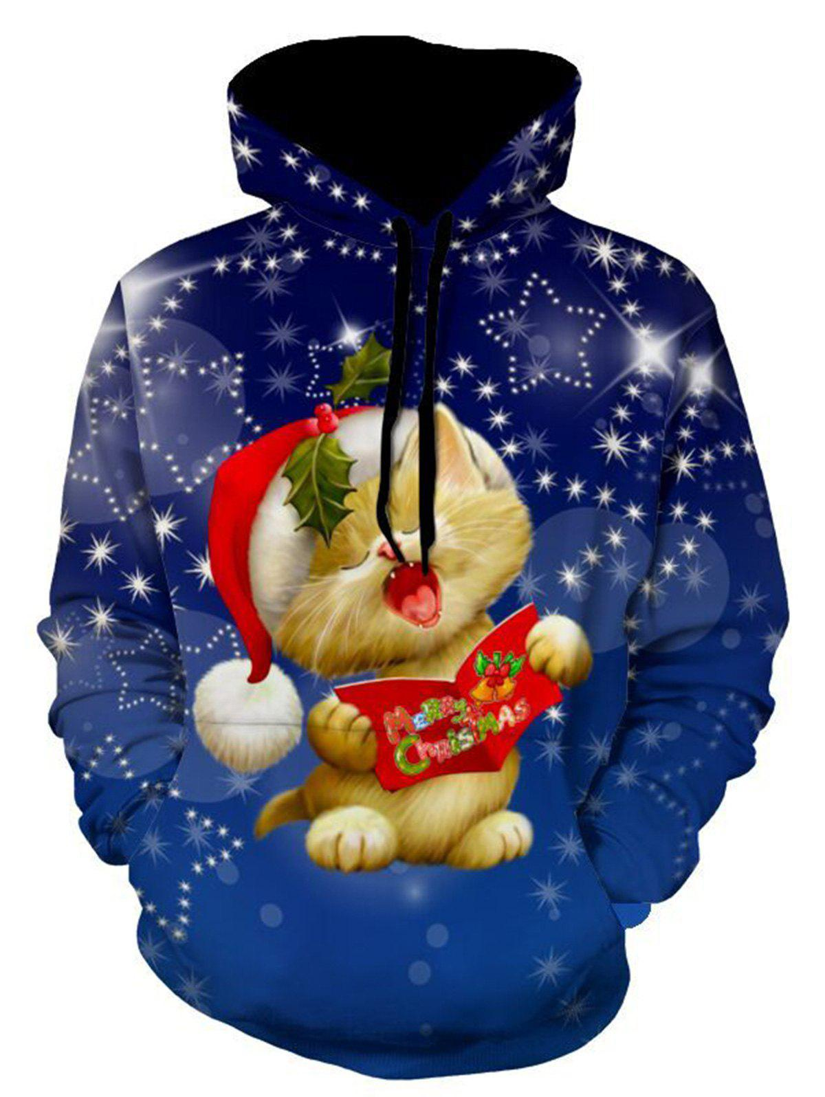 Christmas Cat Star Print Pullover HoodieMEN<br><br>Size: 3XL; Color: BLUE; Material: Polyester,Spandex; Clothes Type: Hoodie; Shirt Length: Regular; Sleeve Length: Full; Style: Fashion; Patterns: 3D,Animal,Print; Thickness: Regular; Occasion: Casual ,Daily Use,Going Out; Weight: 0.5400kg; Package Contents: 1 x Hoodie;
