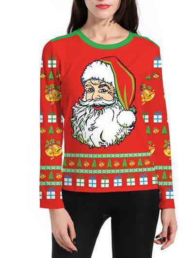 Santa Claus 3D Print Christmas T-ShirtWOMEN<br><br>Size: L; Color: RED; Material: Polyester; Shirt Length: Regular; Sleeve Length: Full; Collar: Round Neck; Style: Fashion; Pattern Type: Others; Season: Fall,Winter; Weight: 0.3500kg; Package Contents: 1 x T-shirt;