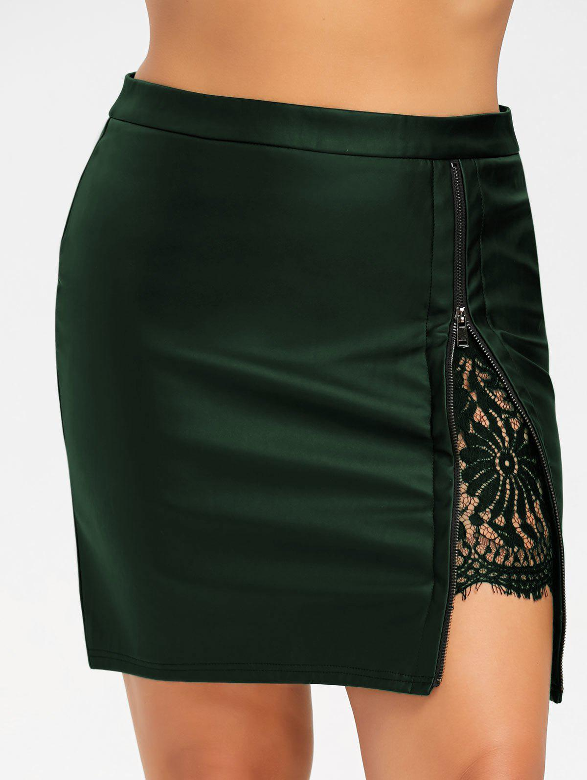 Plus Size Lace Panel PU Leather SkirtWOMEN<br><br>Size: XL; Color: BLACKISH GREEN; Material: Faux Leather,Polyester; Length: Mini; Silhouette: Bodycon; Pattern Type: Floral; Embellishment: Lace,Zippers; Season: Fall,Spring; Weight: 0.4000kg; Package Contents: 1 x Skirt;