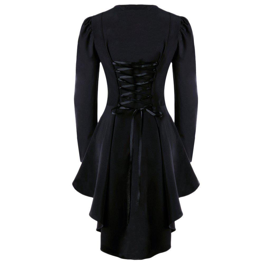 Plus Size Lace Up High Low JacketWOMEN<br><br>Size: 4XL; Color: BLACK; Clothes Type: Jackets; Material: Polyester,Spandex; Type: Slim; Shirt Length: Long; Sleeve Length: Full; Collar: V-Neck; Pattern Type: Solid; Style: Fashion; Season: Fall; Weight: 0.4000kg; Package Contents: 1 x Jacket;