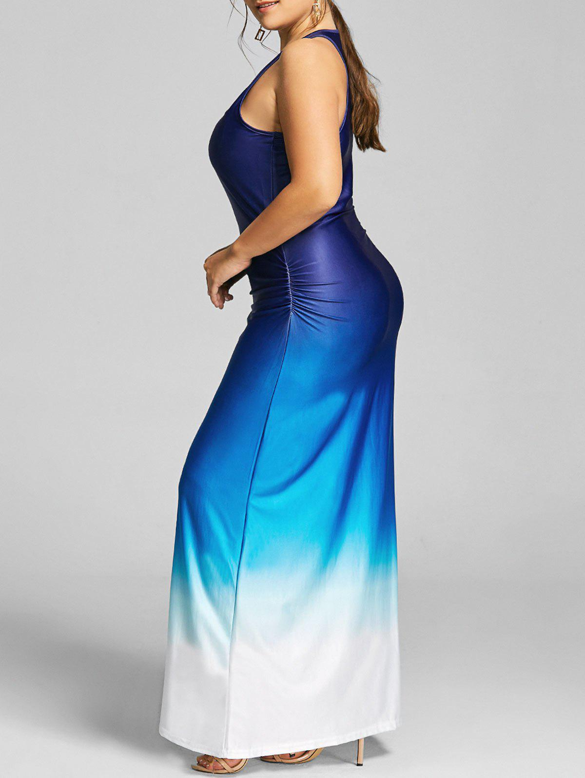 Plus Size Raceback Ombre Maxi DressWOMEN<br><br>Size: 5XL; Color: BLUE; Style: Casual; Material: Cotton,Polyester; Silhouette: Sheath; Dresses Length: Floor-Length; Neckline: U Neck; Sleeve Length: Sleeveless; Pattern Type: Ombre; With Belt: No; Season: Fall,Spring,Summer; Weight: 0.3450kg; Package Contents: 1 x Dress;