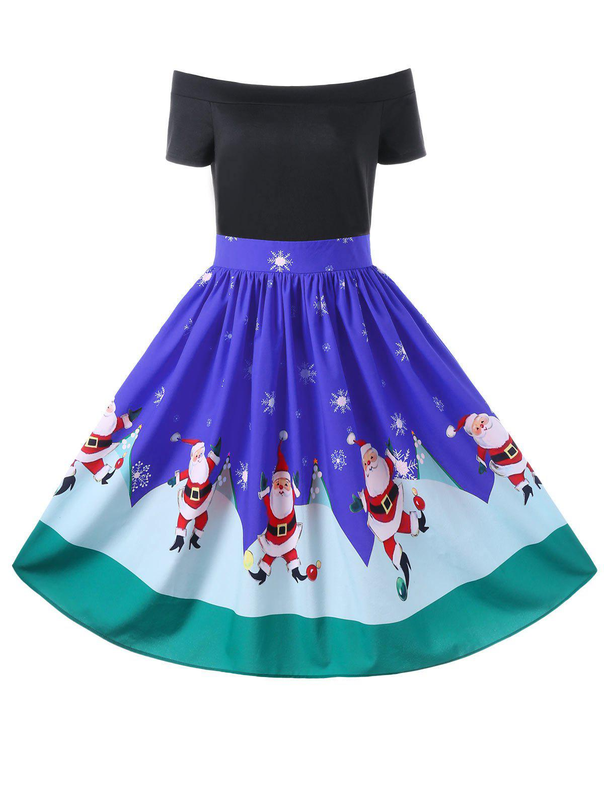 Christmas Off The Shoulder 50s Swing DressWOMEN<br><br>Size: M; Color: BLUE; Style: Vintage; Material: Polyester; Silhouette: A-Line; Dresses Length: Knee-Length; Neckline: Off The Shoulder; Sleeve Length: Short Sleeves; Pattern Type: Character; With Belt: No; Season: Fall,Spring,Summer; Weight: 0.3300kg; Package Contents: 1 x Dress;