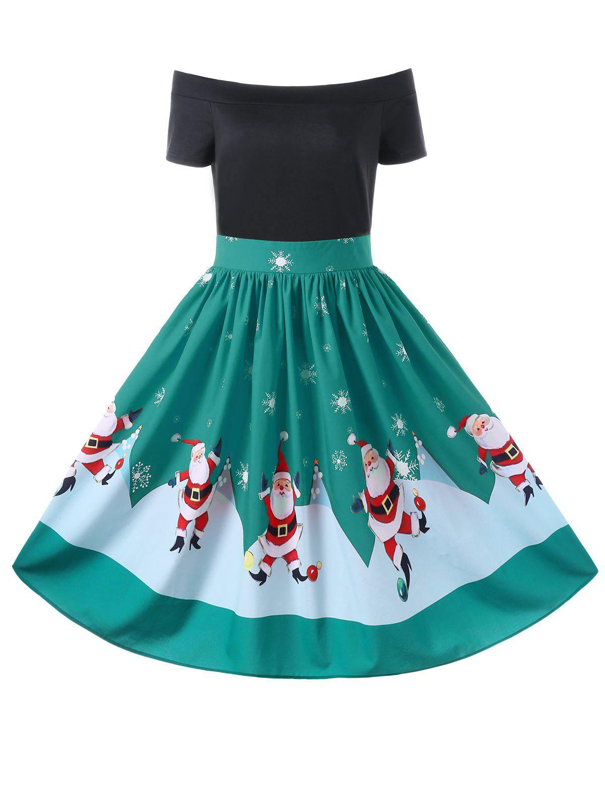 Christmas Off The Shoulder 50s Swing DressWOMEN<br><br>Size: L; Color: GREEN; Style: Vintage; Material: Polyester; Silhouette: A-Line; Dresses Length: Knee-Length; Neckline: Off The Shoulder; Sleeve Length: Short Sleeves; Pattern Type: Character; With Belt: No; Season: Fall,Spring,Summer; Weight: 0.3300kg; Package Contents: 1 x Dress;