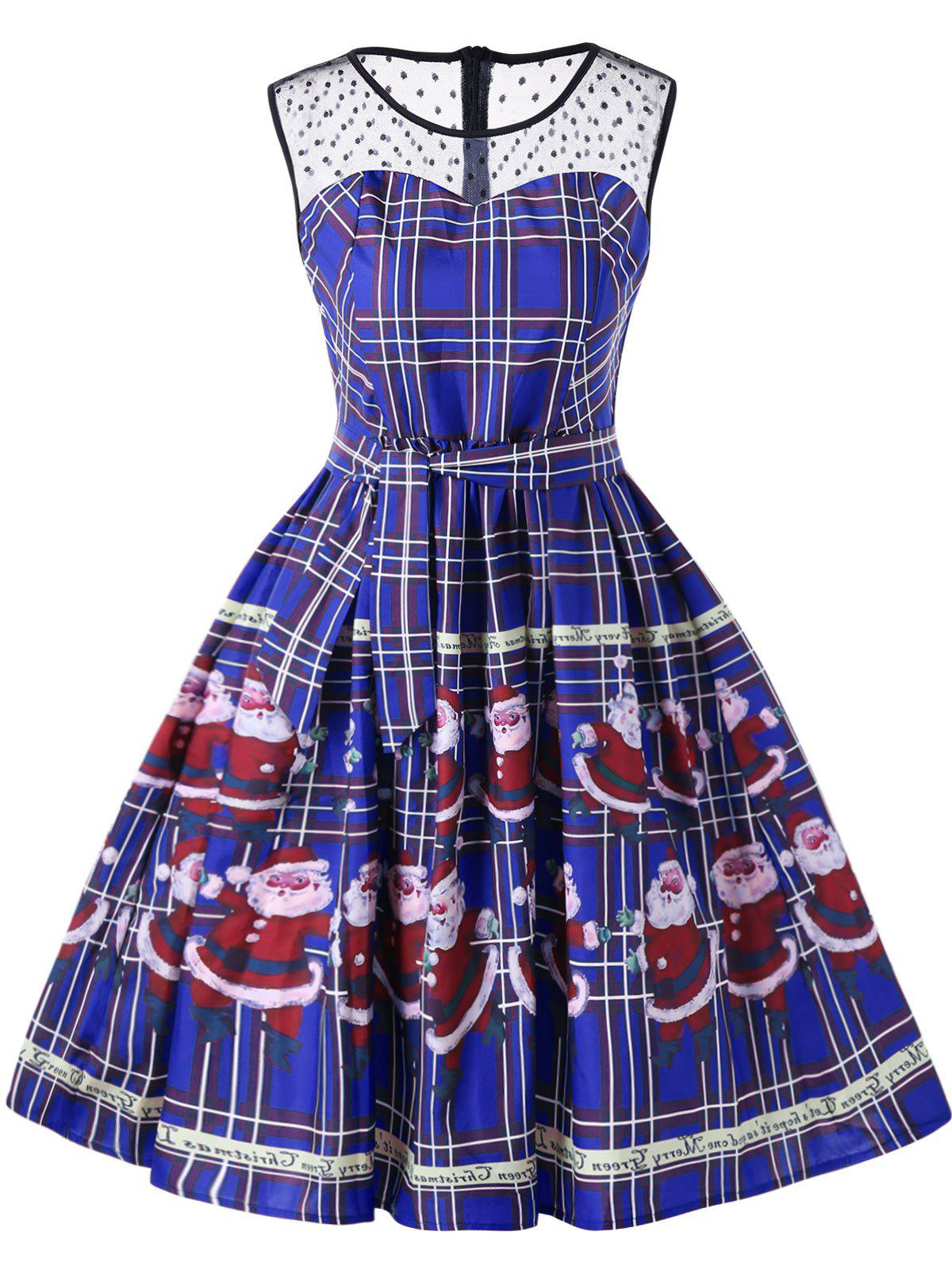 Christmas Santa Claus Plaid Sheer Swing DressWOMEN<br><br>Size: 2XL; Color: BLUE; Style: Vintage; Material: Polyester; Silhouette: A-Line; Dresses Length: Knee-Length; Neckline: Round Collar; Sleeve Length: Sleeveless; Pattern Type: Character,Plaid; With Belt: No; Season: Fall,Spring,Summer; Weight: 0.2300kg; Package Contents: 1 x Dress;