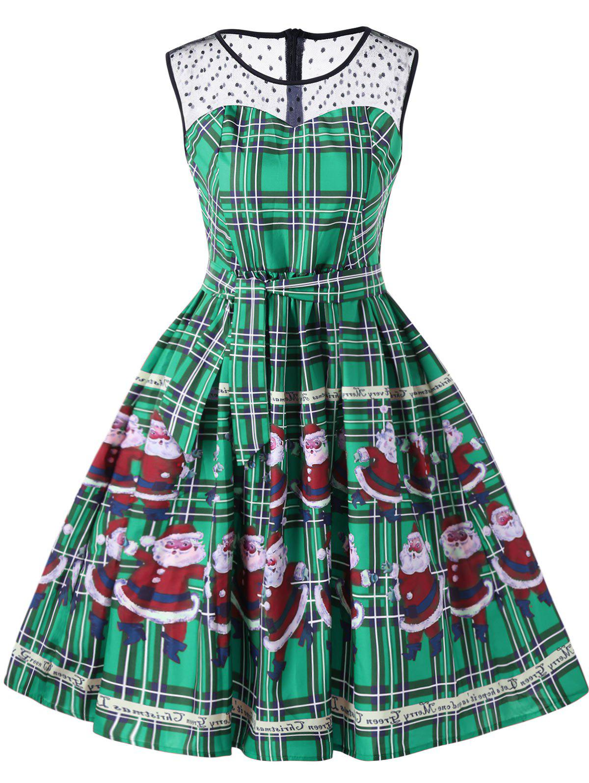 Affordable Christmas Santa Claus Plaid Sheer Swing Dress