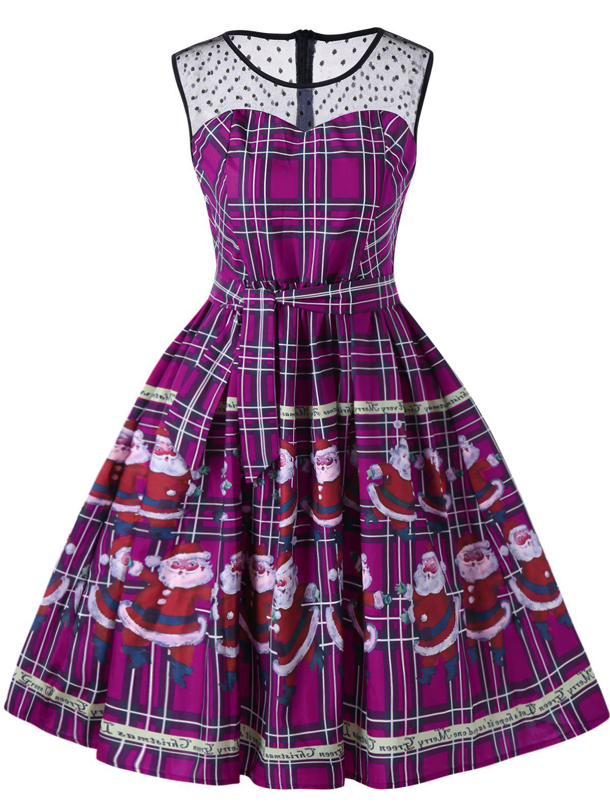 Christmas Santa Claus Plaid Sheer Swing DressWOMEN<br><br>Size: 2XL; Color: PURPLE; Style: Vintage; Material: Polyester; Silhouette: A-Line; Dresses Length: Knee-Length; Neckline: Round Collar; Sleeve Length: Sleeveless; Pattern Type: Character,Plaid; With Belt: No; Season: Fall,Spring,Summer; Weight: 0.2300kg; Package Contents: 1 x Dress;