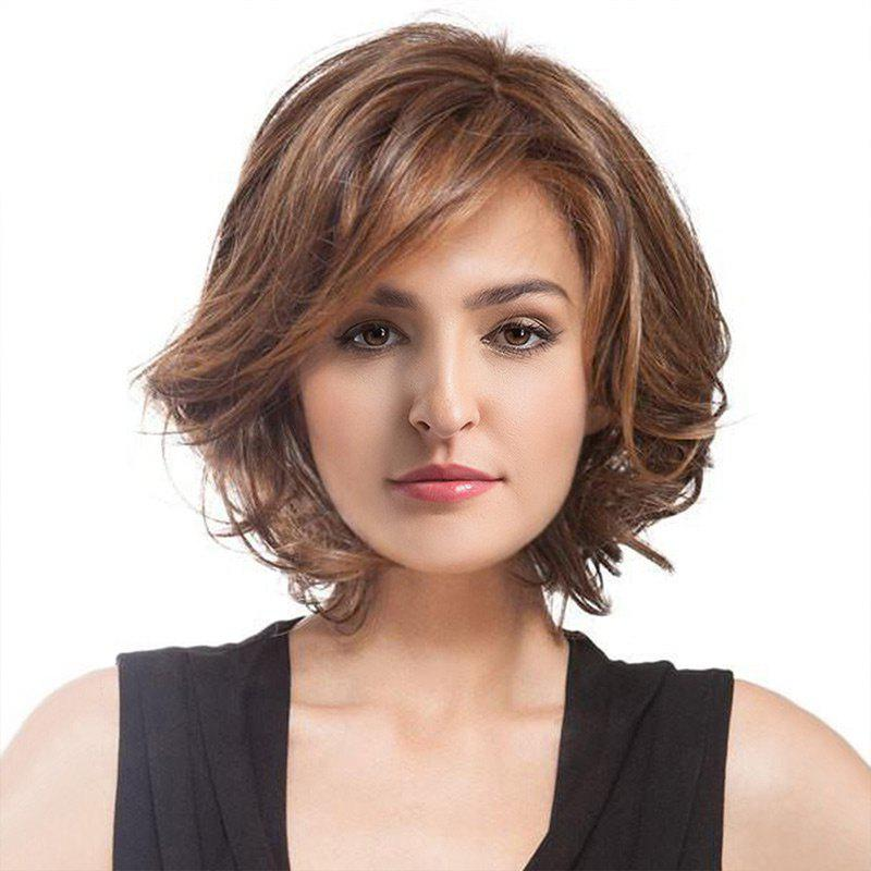Short Inclined Bang Shaggy Curly Colormix Synthetic WigHAIR<br><br>Color: COLORMIX; Type: Full Wigs; Cap Construction: Capless; Style: Curly; Material: Synthetic Hair; Bang Type: Side; Length: Short; Length Size(CM): 35; Weight: 0.1800kg; Package Contents: 1 x Wig;