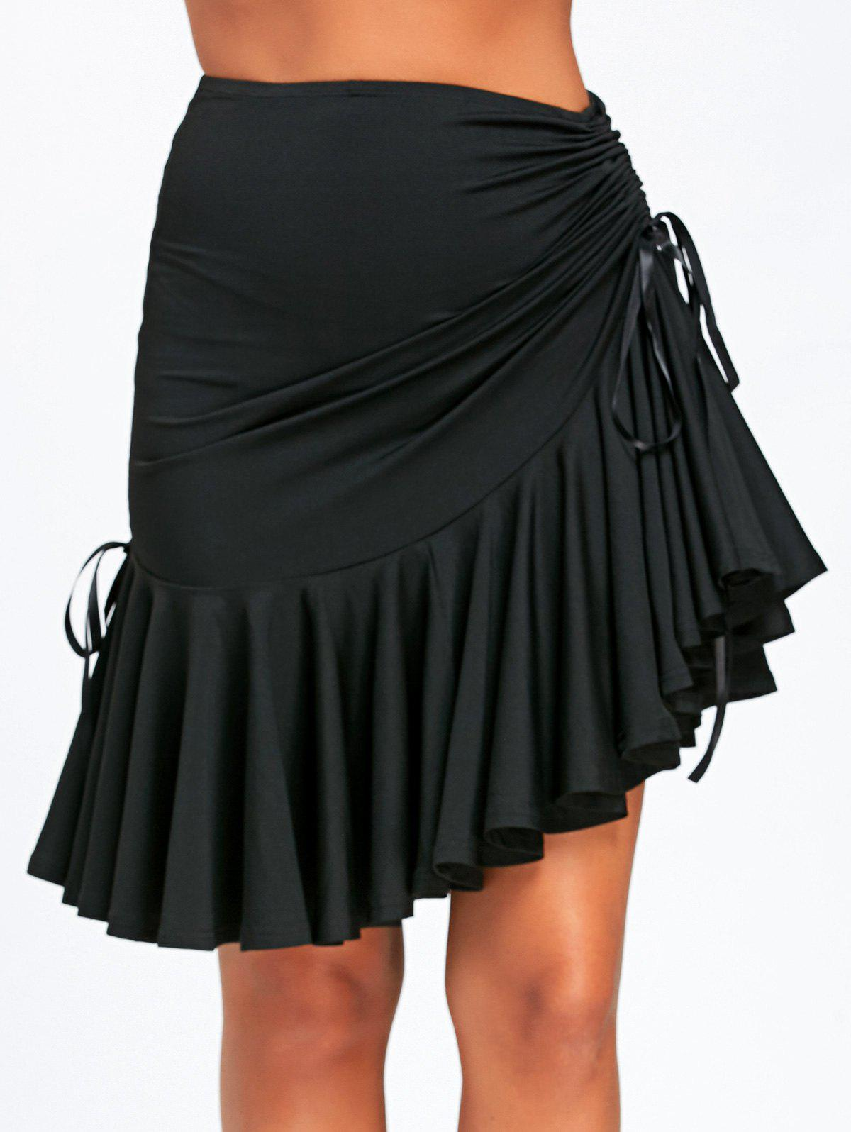 Ruched Ruffle Adjustable SkirtWOMEN<br><br>Size: XL; Color: BLACK; Material: Polyester; Length: Knee-Length; Silhouette: A-Line; Pattern Type: Solid; Season: Fall,Spring; Weight: 0.3500kg; Package Contents: 1 x Skirt;