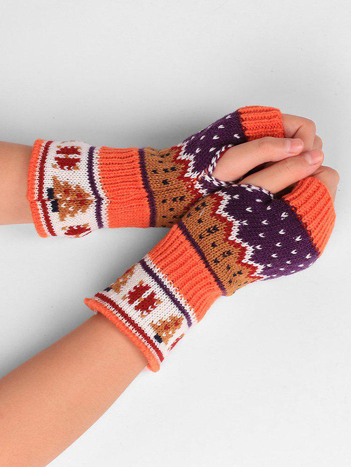 Outfit Christmas Tree Decorated Crochet Knit Fingerless Gloves
