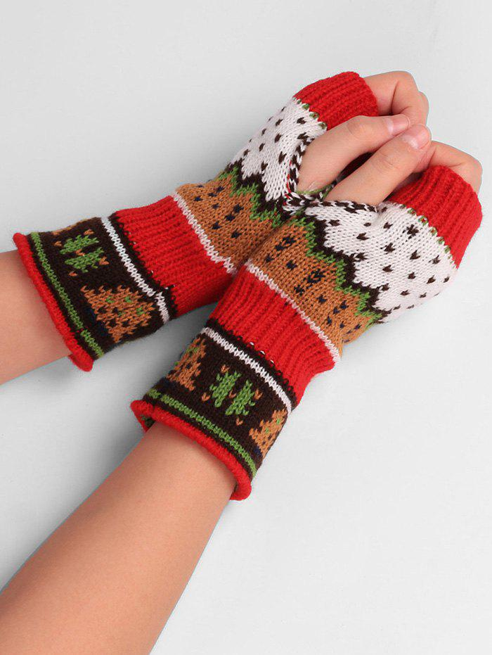 Christmas Tree Decorated Crochet Knit Fingerless GlovesACCESSORIES<br><br>Color: RED; Group: Adult; Gender: Unisex; Style: Fashion; Pattern Type: Others; Material: Acrylic; Weight: 0.0520kg; Package Contents: 1 x Gloves(Pair);