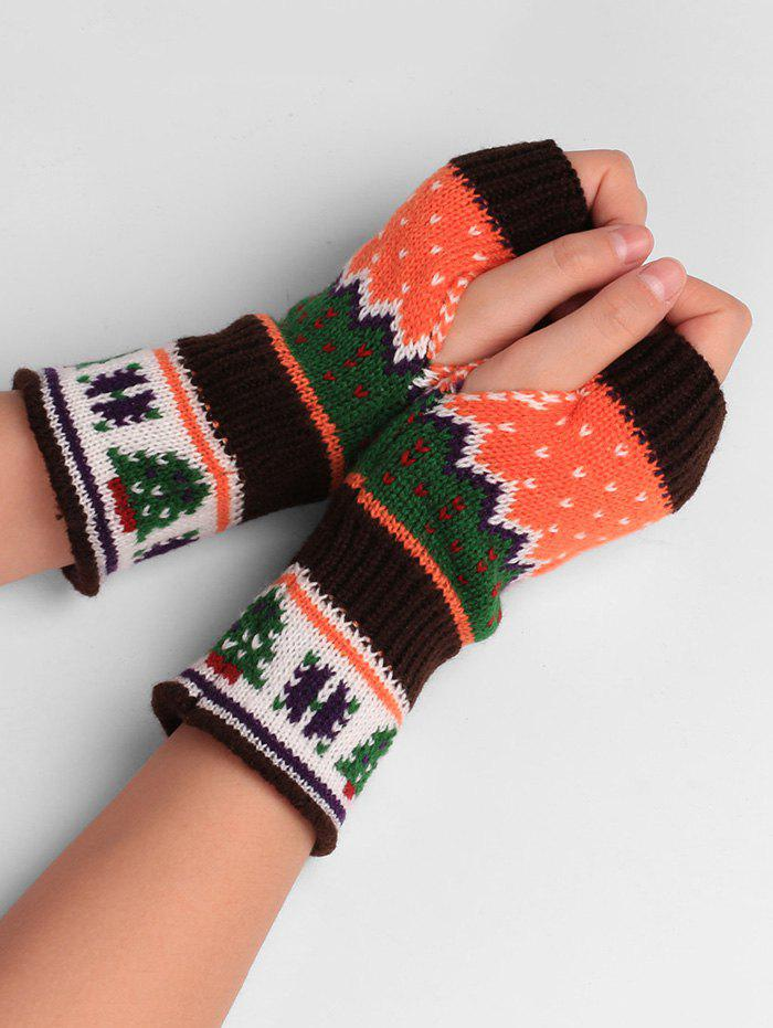 Fashion Christmas Tree Decorated Crochet Knit Fingerless Gloves