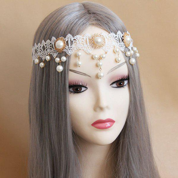 Faux Pearl Forehead Lace HairbandACCESSORIES<br><br>Color: WHITE; Headwear Type: Hairbands; Group: Adult; Gender: For Women; Style: Fashion; Shape/Pattern: Water Drop; Weight: 0.0500kg; Package Contents: 1 x Hairband;