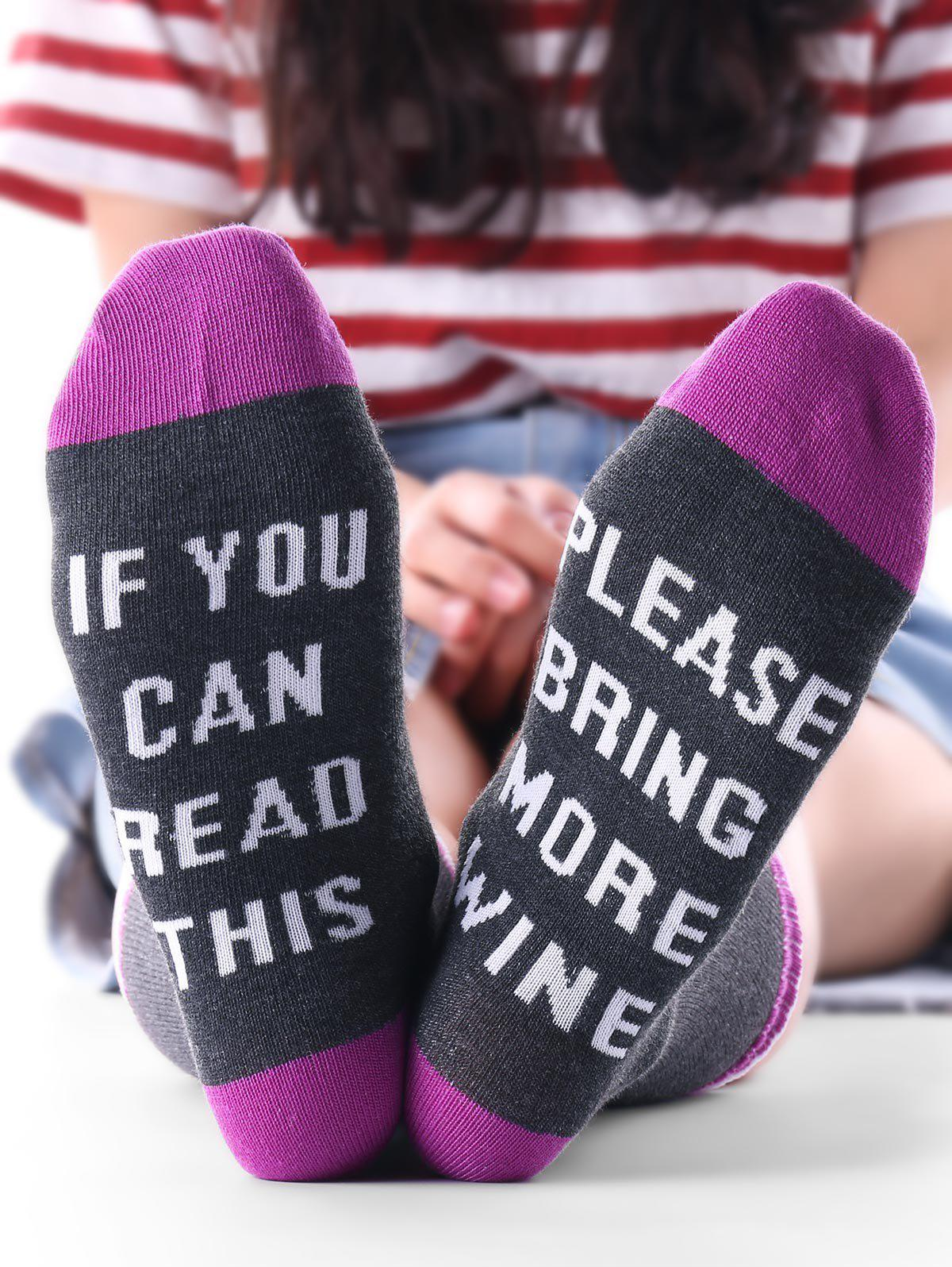 IF YOU CAN READ THIS Color Block Kintting Ankle SocksACCESSORIES<br><br>Color: PURPLE; Type: Socks; Group: Adult; Gender: Unisex; Style: Fashion; Pattern Type: Letter; Material: Polyester; Size(CM): Length:21CM, Width: 23CM; Weight: 0.0500kg; Package Contents: 1 x Socks(Pair);