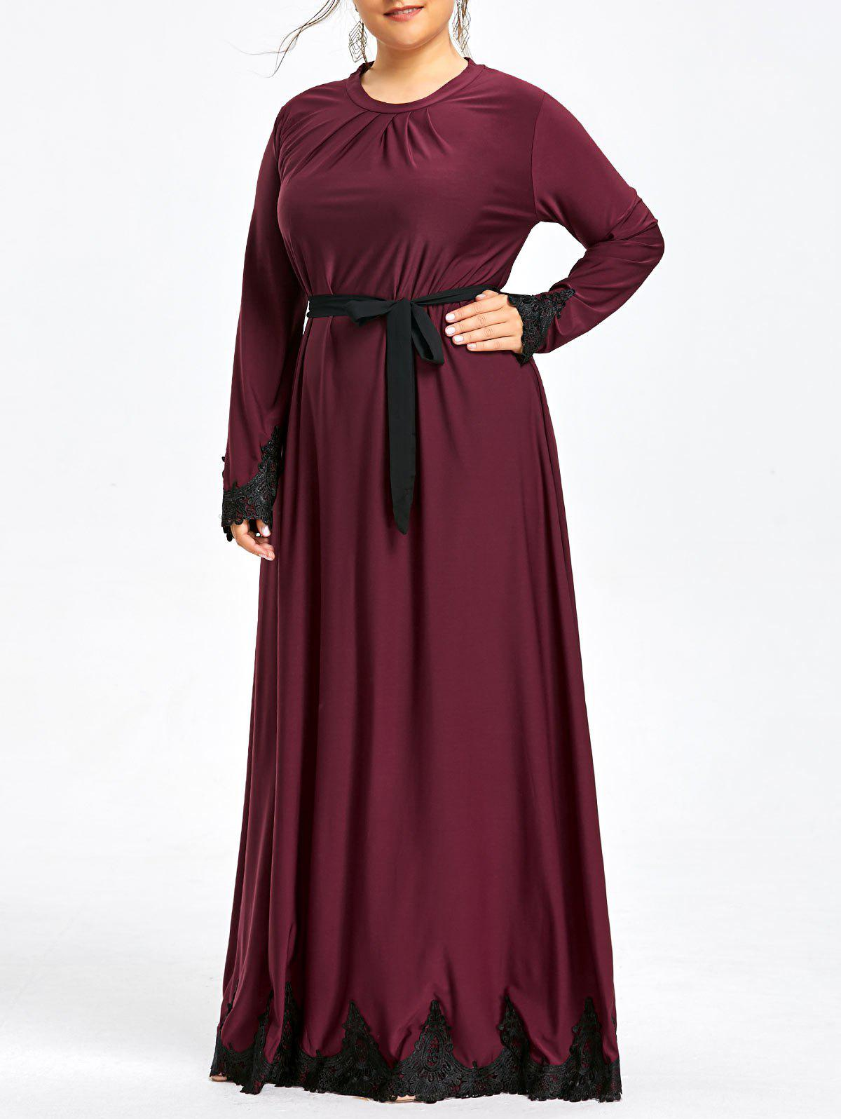 Outfits Plus Size Lace Trim Maxi Dress with Long Sleeve
