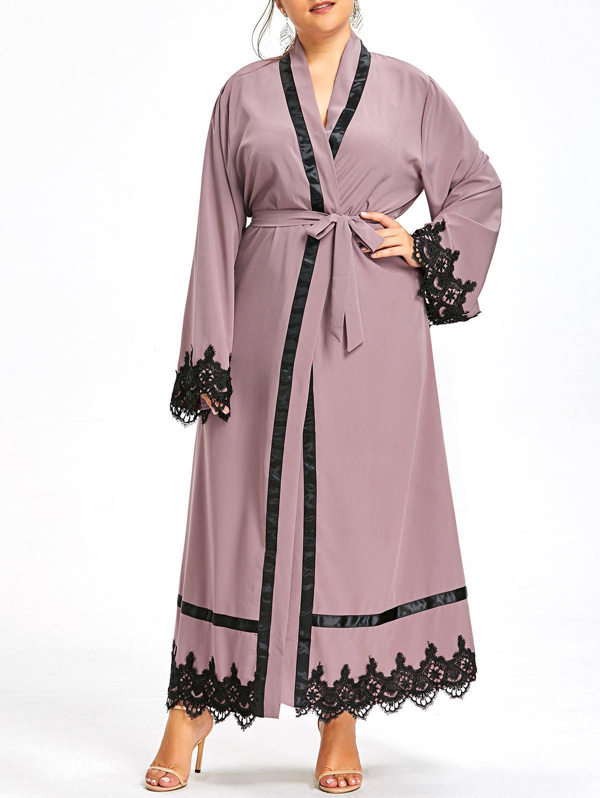 Plus Size Lace Panel Maxi Robe Coat with BeltWOMEN<br><br>Size: 5XL; Color: CAMEO; Clothes Type: Trench; Material: Cotton Blends,Polyester; Type: Slim; Shirt Length: X-Long; Sleeve Length: Full; Collar: Collarless; Pattern Type: Solid; Embellishment: Lace,Spliced; Style: Fashion; Season: Fall,Spring,Winter; With Belt: Yes; Weight: 0.5500kg; Package Contents: 1 x Coat;