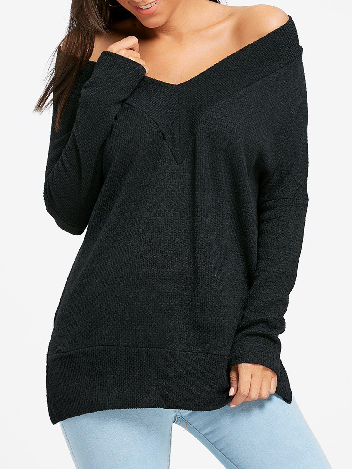 V Neck Side Slit Oversized Tunic SweaterWOMEN<br><br>Size: S; Color: BLACK; Type: Pullovers; Material: Polyester; Sleeve Length: Full; Collar: V-Neck; Style: Fashion; Pattern Type: Solid; Season: Fall,Spring; Weight: 0.3700kg; Package Contents: 1 x Sweater;