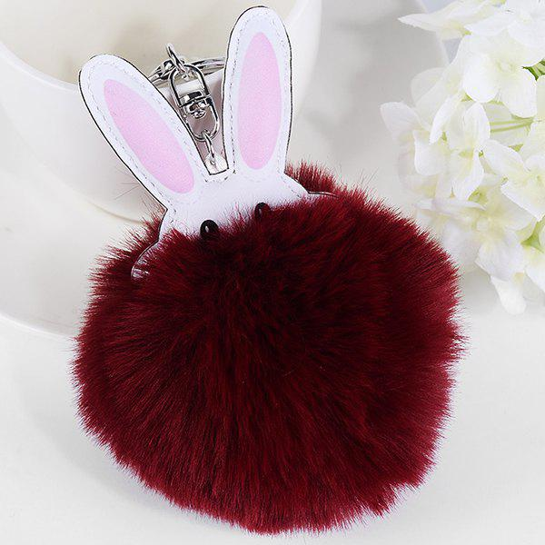 Cute Artificial Leather Fuzzy Rabbit KeyringJEWELRY<br><br>Color: WINE RED; Gender: For Women; Style: Trendy; Shape/Pattern: Animal; Weight: 0.0400kg; Package Contents: 1 x Keychain;