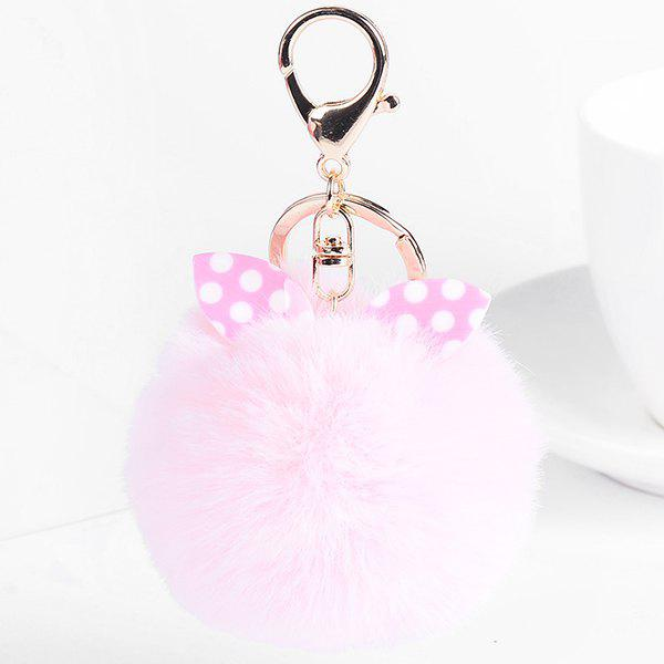 Fuzzy Ball Rabbit Ears Cute KeychainJEWELRY<br><br>Color: PINK; Gender: For Women; Style: Trendy; Shape/Pattern: Ball; Weight: 0.0400kg; Package Contents: 1 x Keychain;