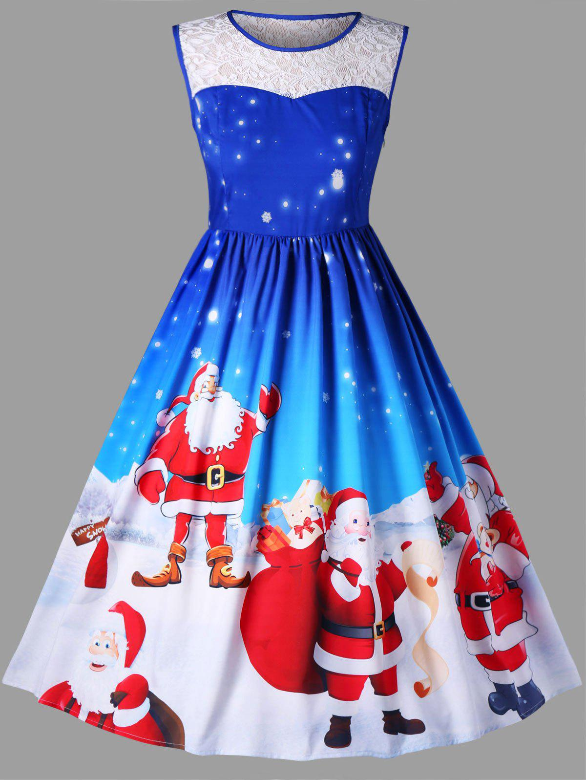 Christmas Plus Size Santa Claus Sleeveless Swing DressWOMEN<br><br>Size: 4XL; Color: BLUE; Style: Vintage; Material: Polyester; Silhouette: A-Line; Dresses Length: Knee-Length; Neckline: Round Collar; Sleeve Length: Sleeveless; Embellishment: Lace; Pattern Type: Animal,Character; With Belt: No; Season: Fall,Spring; Weight: 0.4200kg; Package Contents: 1 x Dress;