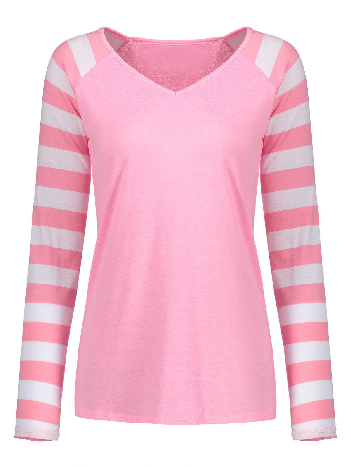 V Neck Striped Raglan Sleeve TopWOMEN<br><br>Size: L; Color: PINK; Material: Polyester,Spandex; Shirt Length: Regular; Sleeve Length: Full; Collar: V-Neck; Style: Casual; Pattern Type: Striped; Season: Fall,Spring; Weight: 0.2700kg; Package Contents: 1 x Top;