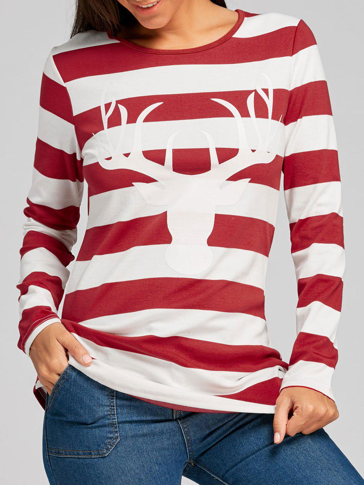 Christmas Long Sleeve Stripe Tunic T-shirtWOMEN<br><br>Size: S; Color: RED; Material: Polyester,Spandex; Shirt Length: Long; Sleeve Length: Full; Collar: Round Neck; Style: Fashion; Pattern Type: Print,Striped; Season: Fall,Spring; Weight: 0.4000kg; Package Contents: 1 x T-shirt;