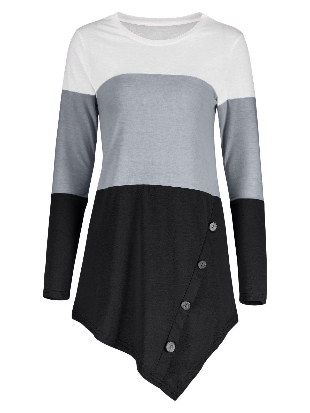 Button Embellished Asymmetric Striped Color Block TopWOMEN<br><br>Size: 2XL; Color: BLACK; Material: Polyester,Spandex; Shirt Length: Long; Sleeve Length: Full; Collar: Round Neck; Style: Fashion; Pattern Type: Striped; Season: Fall,Spring; Weight: 0.3200kg; Package Contents: 1 x Top;