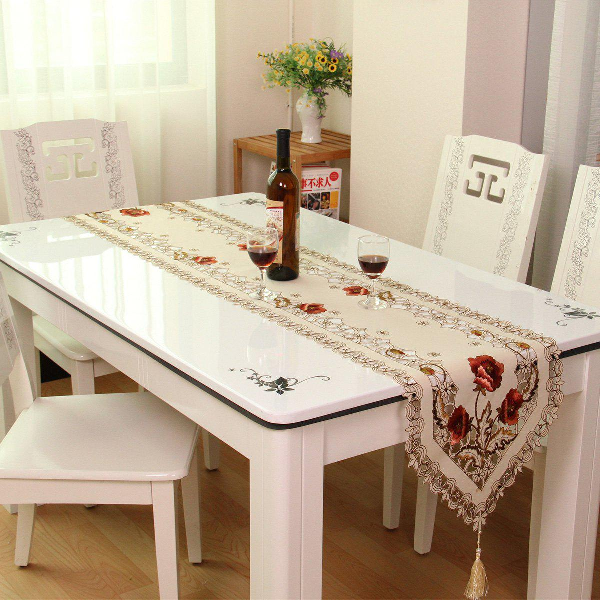 Home Decor Embroidered Satin Hollow Out Table RunnerHOME<br><br>Size: 40*250CM; Color: PALOMINO; Type: Table Runner; Material: Satin; Pattern Type: Embroidered,Floral; Weight: 0.1750kg; Package Contents: 1 x Table Runner;