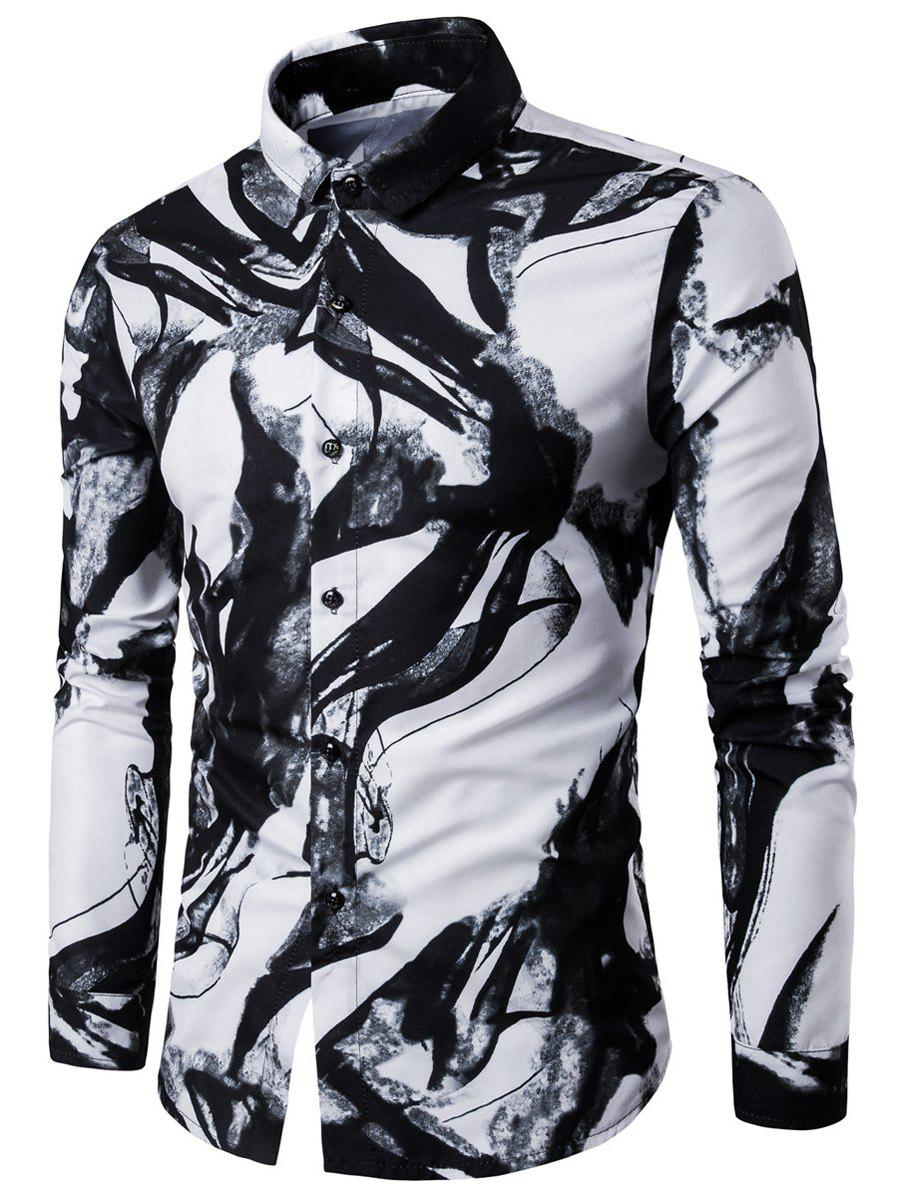 Long Sleeve Ink Wash Painting Print ShirtMEN<br><br>Size: 2XL; Color: WHITE; Shirts Type: Casual Shirts; Material: Cotton,Polyester; Sleeve Length: Full; Collar: Turndown Collar; Pattern Type: Print; Weight: 0.2500kg; Package Contents: 1 x Shirt;