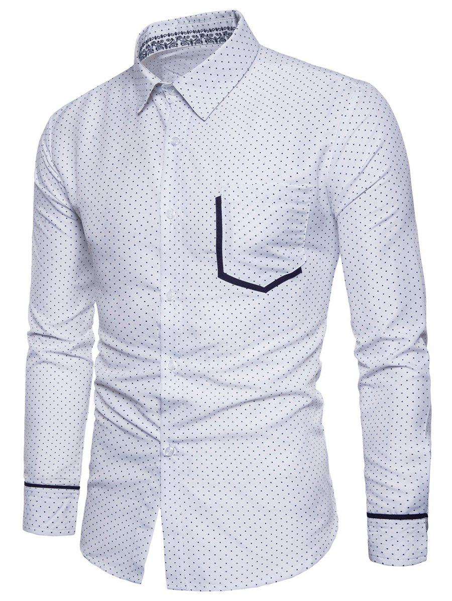Long Sleeve Dot Print Color Block Pocket ShirtMEN<br><br>Size: M; Color: WHITE; Shirts Type: Casual Shirts; Material: Cotton,Polyester; Sleeve Length: Full; Collar: Turndown Collar; Pattern Type: Polka Dot; Weight: 0.2600kg; Package Contents: 1 x Shirt;