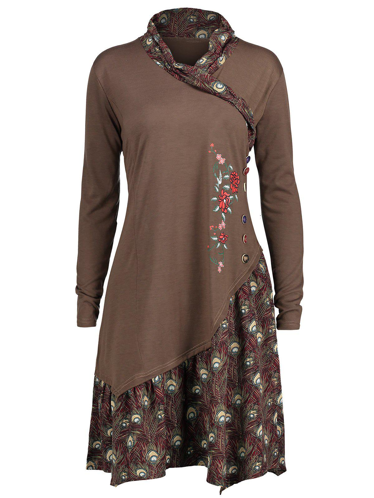 Plus Size Long Sleeve Asymmetric Floral Panel Tunic TopWOMEN<br><br>Size: 2XL; Color: BROWN; Material: Cotton Blends,Polyester; Shirt Length: Long; Sleeve Length: Full; Collar: Shawl Collar; Style: Fashion; Season: Fall,Winter; Embellishment: Button,Ruffles; Pattern Type: Floral; Weight: 0.3300kg; Package Contents: 1 x Top;