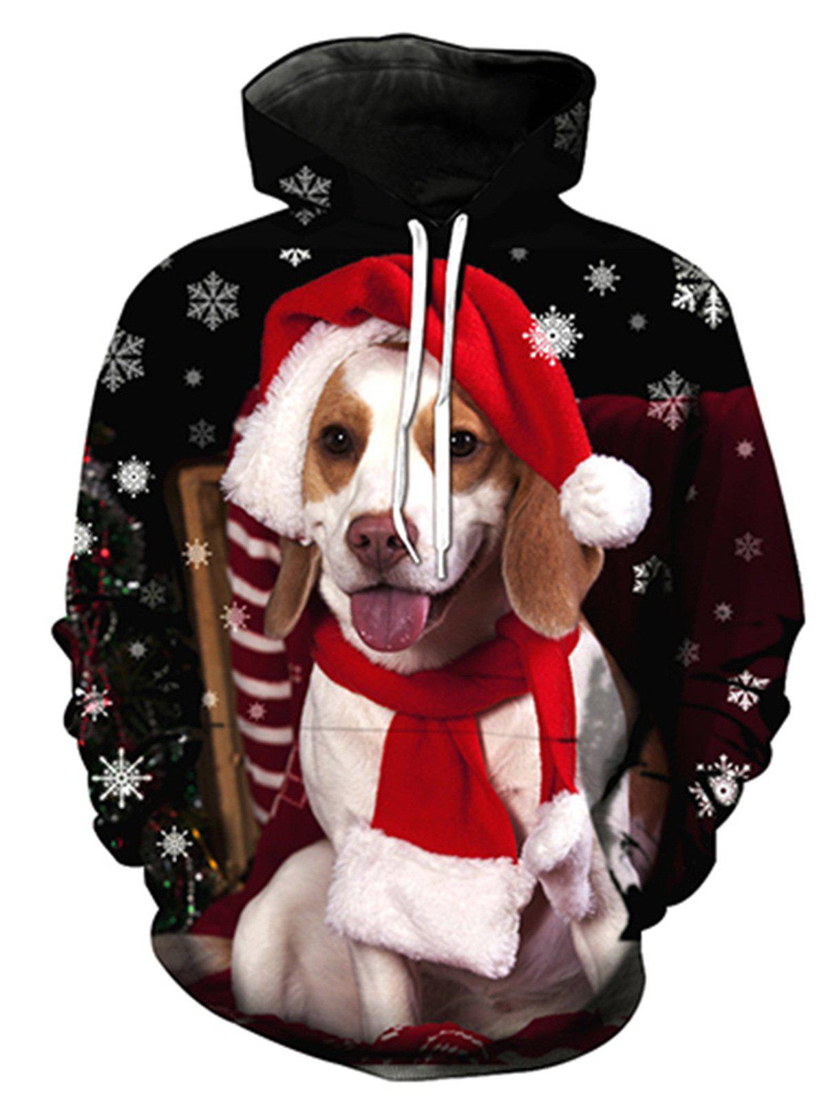 Christmas Dog 3D Print Pullover HoodieMEN<br><br>Size: 3XL; Color: COLORMIX; Material: Cotton,Polyester; Clothes Type: Hoodie; Shirt Length: Regular; Sleeve Length: Full; Style: Fashion; Patterns: 3D,Animal; Thickness: Regular; Occasion: Casual ,Daily Use,Going Out; Weight: 0.4800kg; Package Contents: 1 x Hoodie;