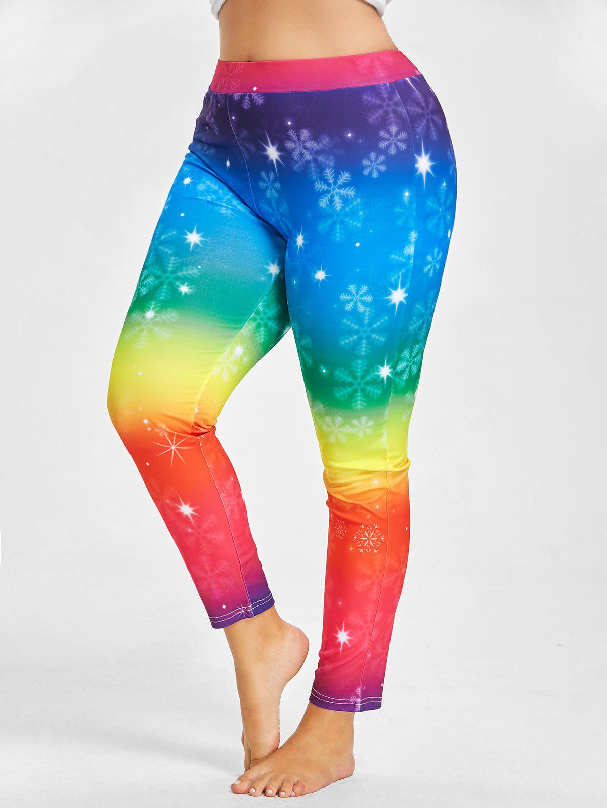 Plus Size Rainbow  Printed Christmas Snowflake LeggingsWOMEN<br><br>Size: 4XL; Color: BLUE; Style: Fashion; Length: Normal; Material: Polyester; Fit Type: Skinny; Waist Type: High; Closure Type: Elastic Waist; Pattern Type: Print; Pant Style: Pencil Pants; Elasticity: Elastic; Weight: 0.2800kg; Package Contents: 1 x Leggings;