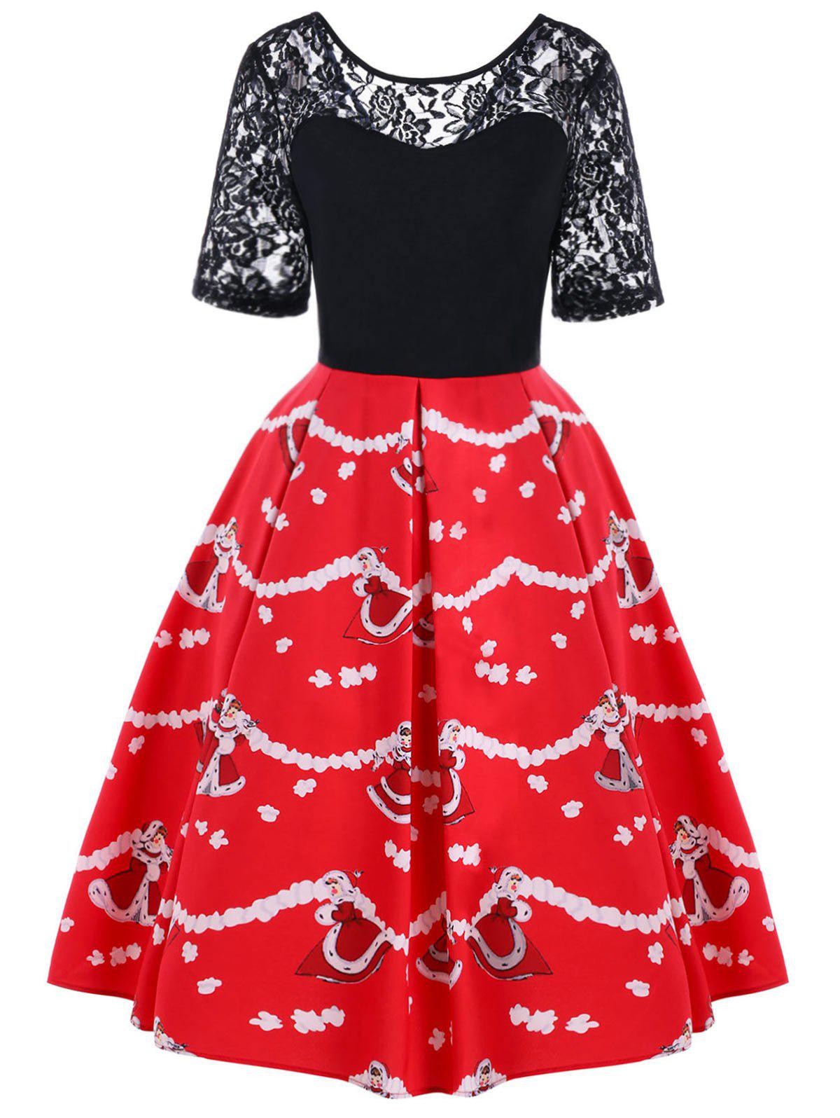 Christmas Lace Yoke Swing DressWOMEN<br><br>Size: 2XL; Color: BLACK AND RED; Style: Vintage; Material: Polyester; Silhouette: A-Line; Dress Type: Swing Dress; Dresses Length: Knee-Length; Neckline: Round Collar; Sleeve Length: Short Sleeves; Embellishment: Lace; Pattern Type: Floral; With Belt: No; Season: Fall,Spring; Weight: 0.2300kg; Package Contents: 1 x Dress;