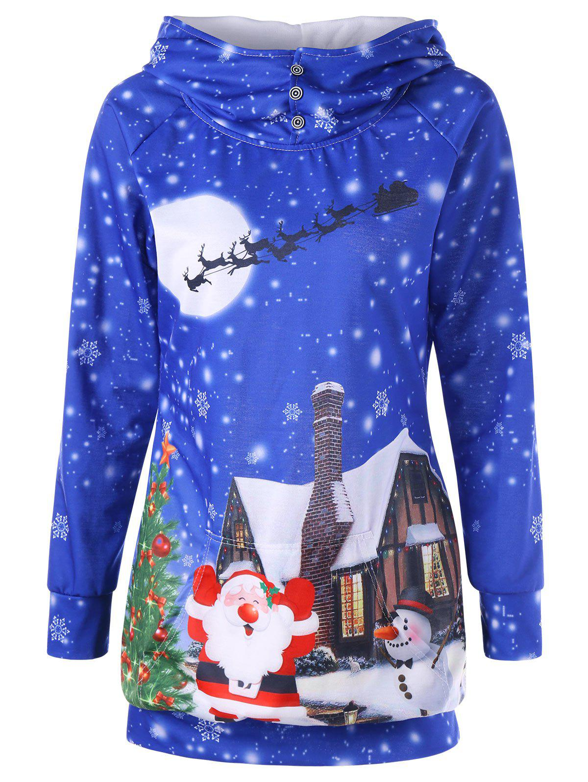 Santa Claus Snowflake Print Tunic Christmas HoodieWOMEN<br><br>Size: M; Color: BLUE; Material: Polyester; Shirt Length: Long; Sleeve Length: Full; Style: Fashion; Pattern Style: Print; Season: Fall,Spring; Weight: 0.4000kg; Package Contents: 1 x Hoodie;