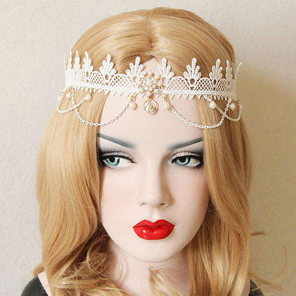 Store Faux Pearl Lace Forehead Elastic Hairband