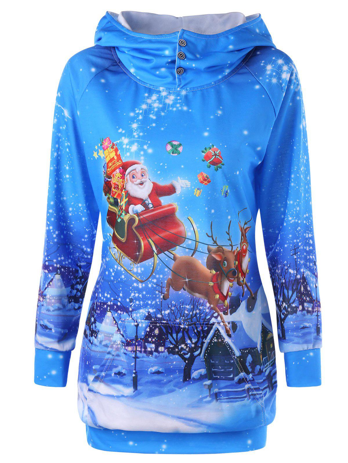 Snowflake Santa Claus Print Graphic Christmas HoodieWOMEN<br><br>Size: XL; Color: BLUE; Material: Polyester; Shirt Length: Long; Sleeve Length: Full; Style: Fashion; Pattern Style: Print; Season: Fall,Spring; Weight: 0.4000kg; Package Contents: 1 x Hoodie;