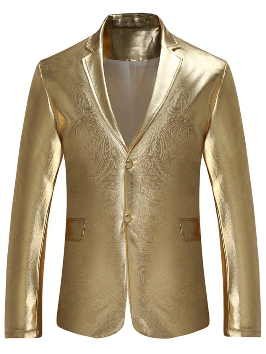 Best Single Breasted Lapel Metallic Color Blazer