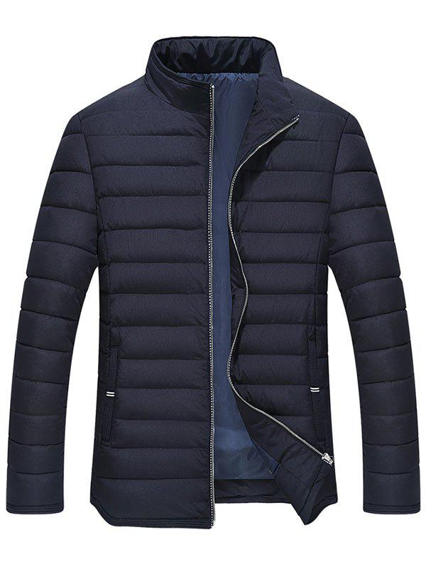 Manteau Matelassé Détail de la Rayure Zipper Up