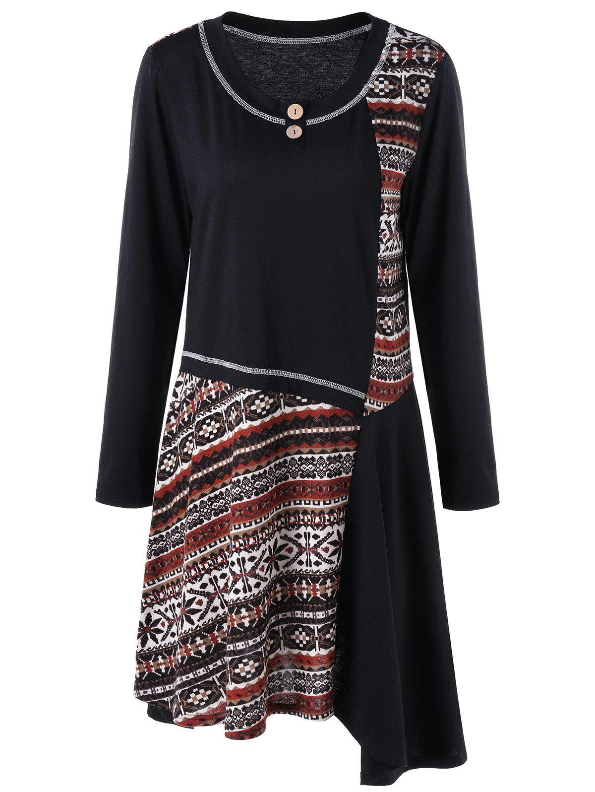 Plus Size Graphic Asymmetrical Tee DressWOMEN<br><br>Size: 5XL; Color: BLACK; Style: Casual; Material: Polyester,Spandex; Silhouette: Asymmetrical; Dresses Length: Knee-Length; Neckline: Round Collar; Sleeve Length: Long Sleeves; Embellishment: Button; Pattern Type: Tribal Print; With Belt: No; Season: Fall,Spring; Weight: 0.3700kg; Package Contents: 1 x Dress;